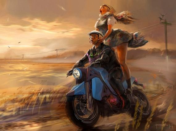Постер на подрамнике Покатушки с девушкой