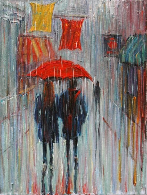 Постер (плакат) Двое под зонтом
