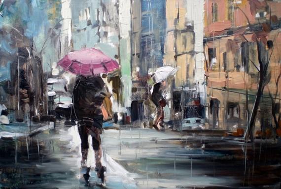 Постер на подрамнике Лиловый зонт