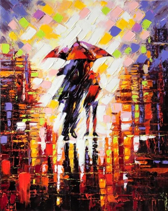 Постер (плакат) Пара под зонтом
