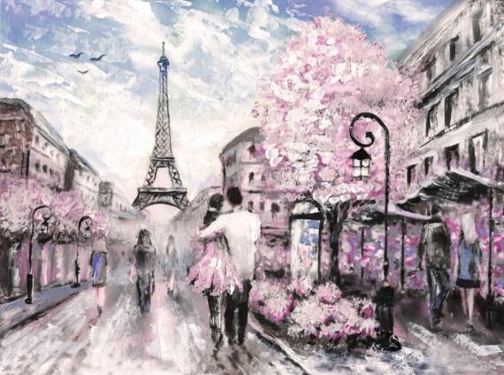 Постер (плакат) Париж двое влюблённых