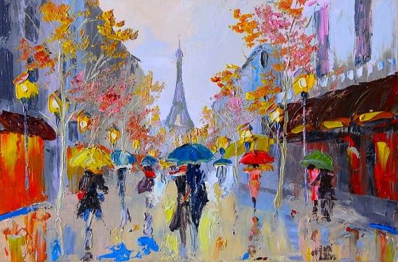 Постер на подрамнике Париж зонты