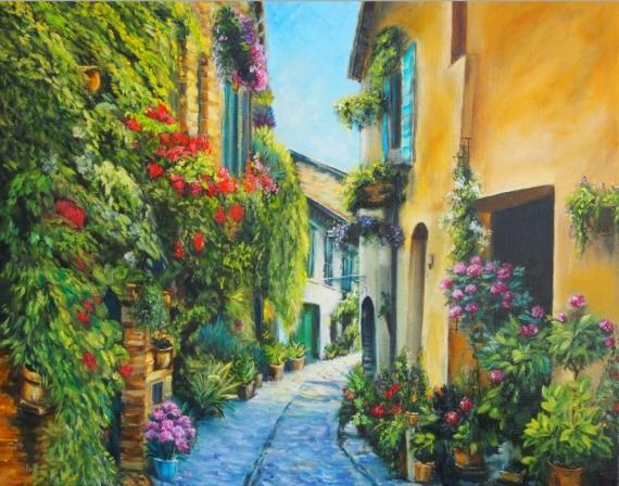 Постер (плакат) Улица в цветах