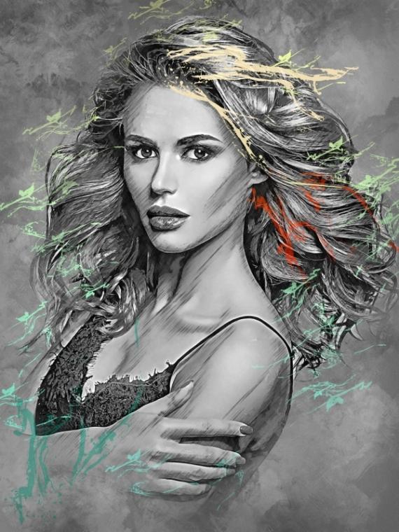 Постер (плакат) ЧБ Девушка