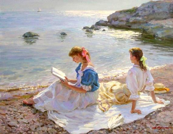Постер (плакат) Чтение у моря