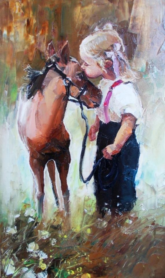 Постер на подрамнике Девочка и жеребёнок