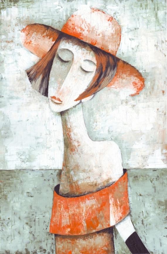 Постер (плакат) Оранжевая шляпа