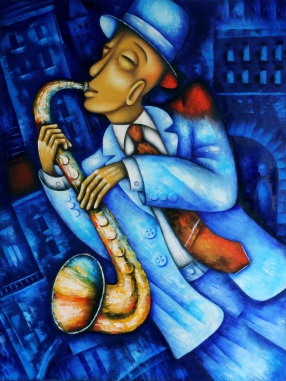Постер (плакат) Игра на саксофоне