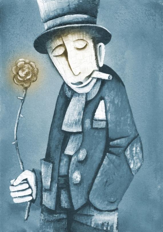 Постер на подрамнике Мужчина с цветком