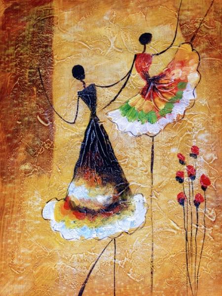 Постер на подрамнике Две подружки в танце