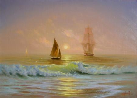 Постер (плакат) Корабли на закате