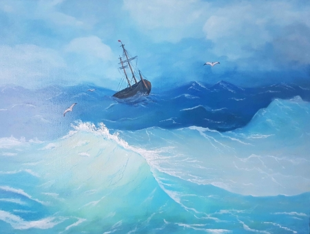 Постер (плакат) Лодка в бушующем море