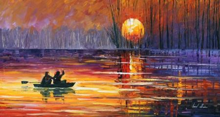 Постер на подрамнике Рыбалка на закате