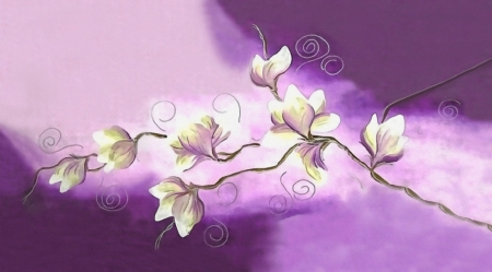 Постер на подрамнике Белые орхидеи на фиолетовом фоне