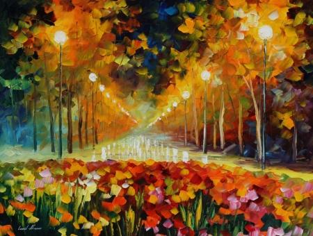 Постер на подрамнике Ночная аллея в парке под дождём