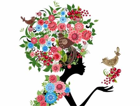 Постер на подрамнике Девушка и цветы