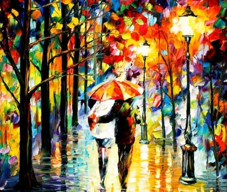 Постер на подрамнике Прогулка под зонтом