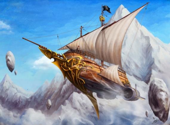 Постер на подрамнике Пиратский корабль