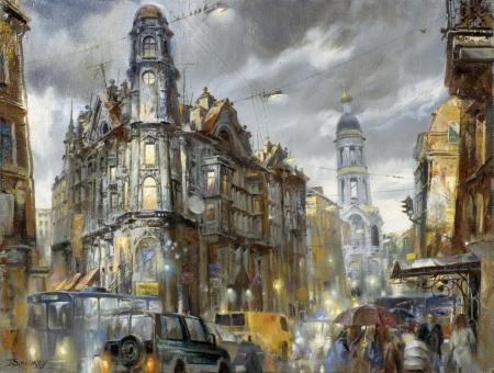 Постер на подрамнике Дождь в Санкт-Петербурге