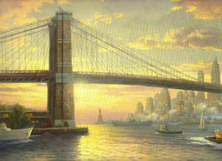 Постер (плакат) Статуя Свободы на закате Нью-Йорк