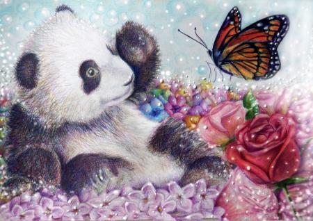 Постер (плакат) Панда и бабочка