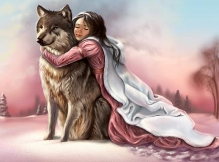 Постер на подрамнике Девочка и волк