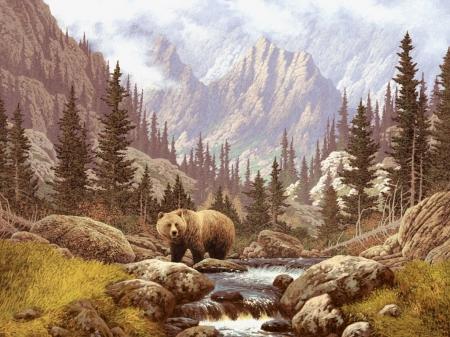 Постер (плакат) Медведь на водопое
