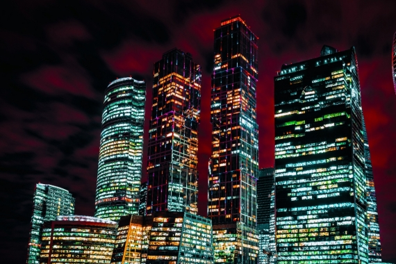 Постер (плакат) Огни ночного Москва-сити