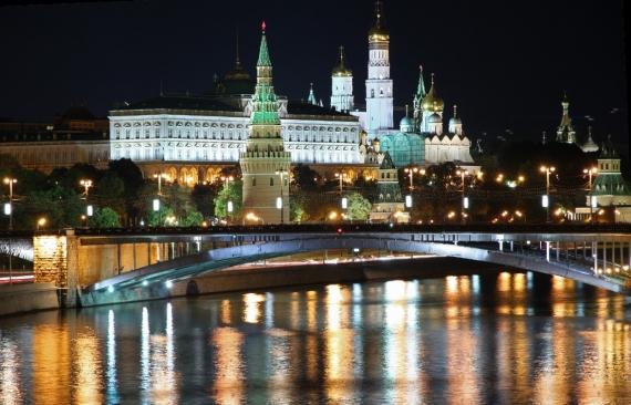 Постер (плакат) Вид на Московский Кремль ночью