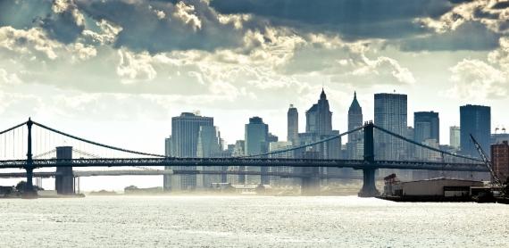 Постер (плакат) Бруклинский мост вид с реки