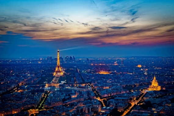 Постер на подрамнике Вид на вечерний Париж