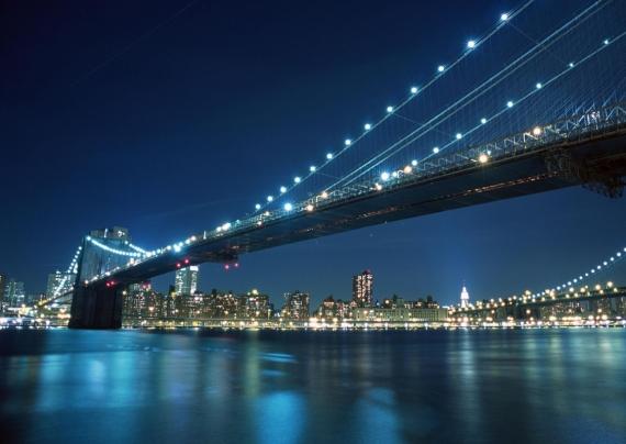 Постер (плакат) Ночной Бруклинский мост в Нью-Йорке