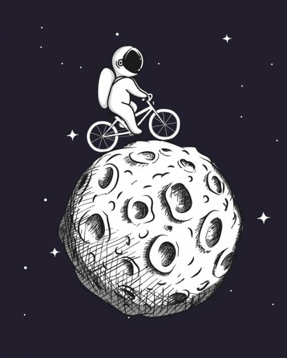 Постер на подрамнике Космонавт на велосипеде по Луне