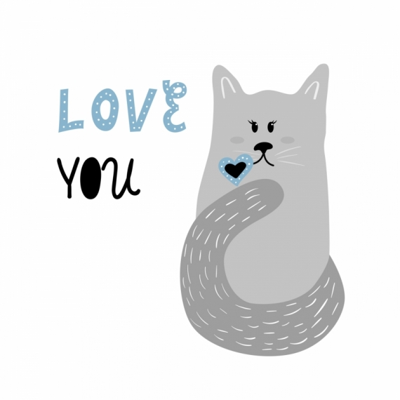 Постер на подрамнике Котик тебя любит