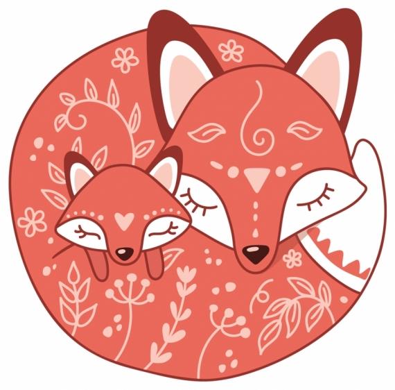 Плакат Лиса и лисенок