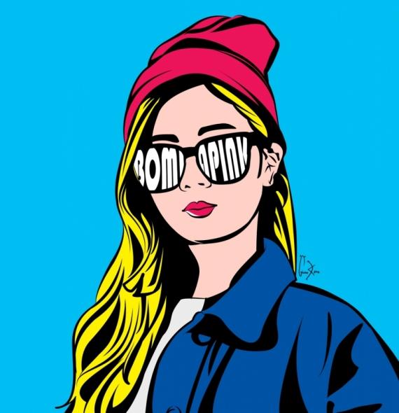 Постер (плакат) Девушка в очках