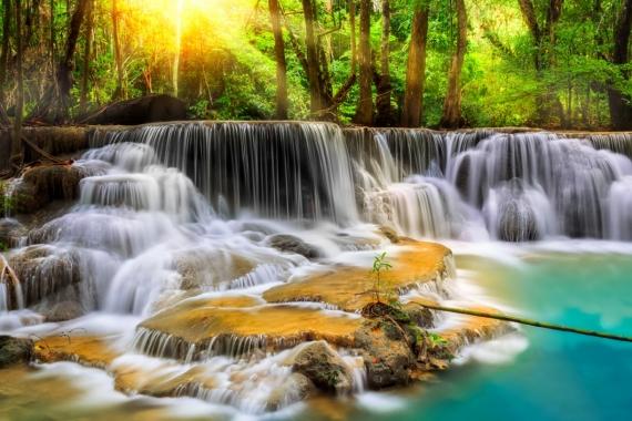 Постер (плакат) Водопад в лесу