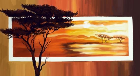 Постер на подрамнике Африка закат