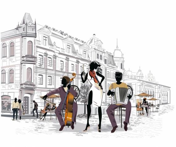 Постер на подрамнике Музыканты в Париже