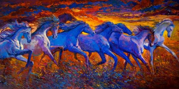 Постер на подрамнике Лошади в поле