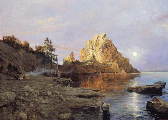 Постер (плакат) Костёр у воды