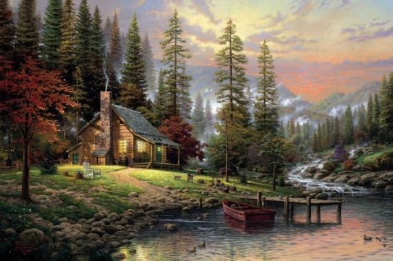 Постер (плакат) Дом у реки