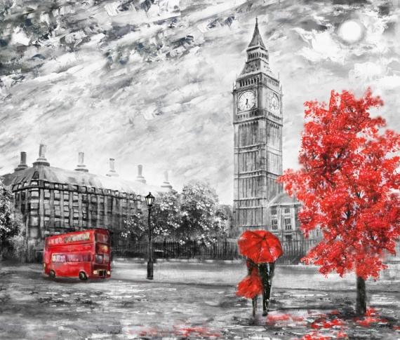 Постер на подрамнике Пара под зонтом