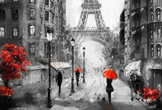 Постер на подрамнике Девушка и красный зонт