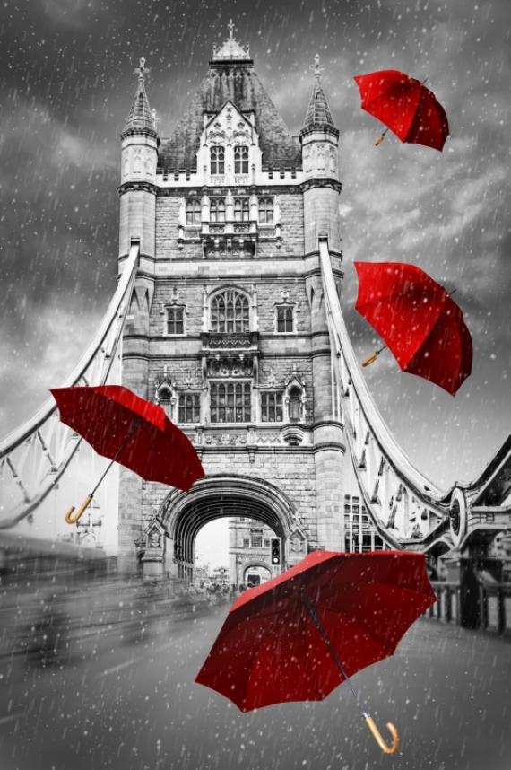 Постер на подрамнике Красные зонты