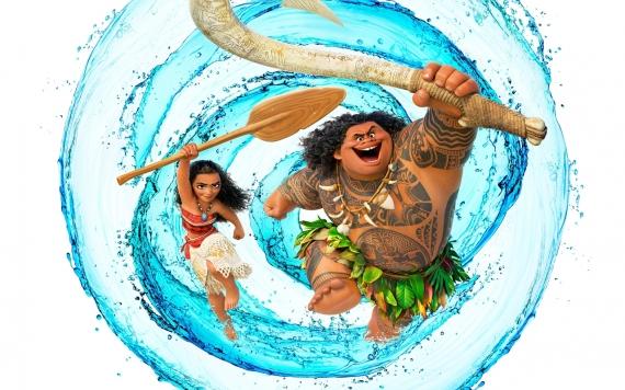 Постер на подрамнике Моана и полубог Мауи