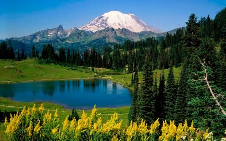 Постер на подрамнике Горы и озеро