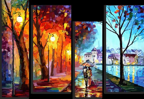 Модульная картина Осенняя набережная
