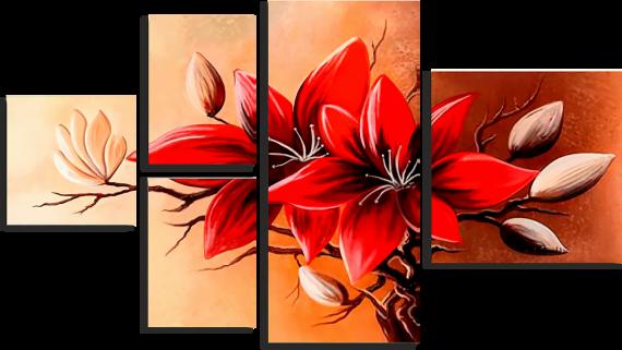 Модульная картина Красные лилии