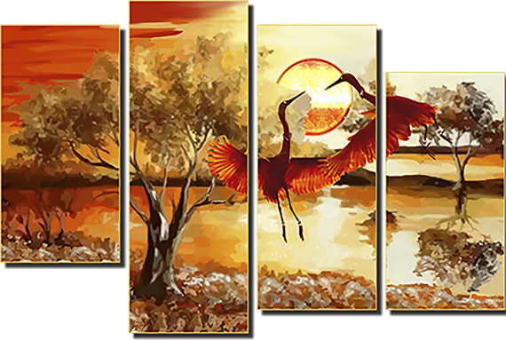 Модульная картина Игры журавлей